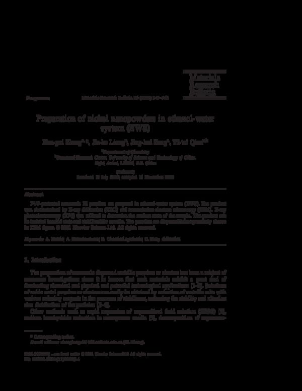 PDF) Preparation of nickel nanopowders in ethanol-water