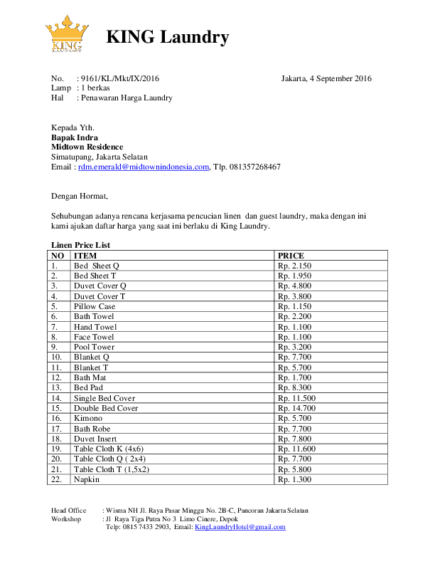 Pdf Contoh Surat Penawaran Jasa Laundry Hotel Sentot