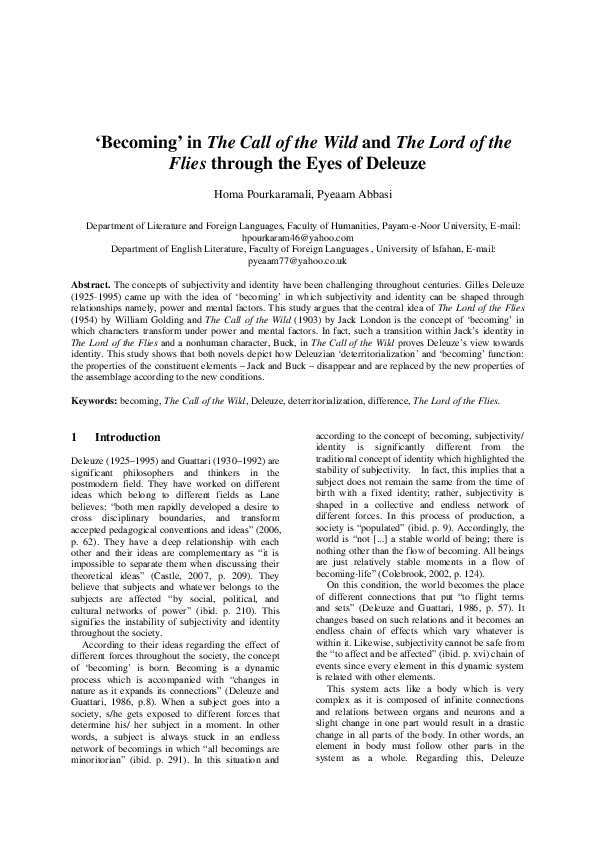 Pdf Becoming In The Call Of The Wild And The Lord Of The Flies Through The Eyes Of Deleuze Homa Pourkaramali And Homa Pourkaramali Academia Edu