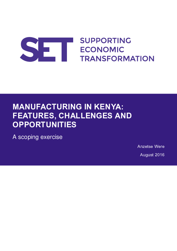 PDF) MANUFACTURING IN KENYA: FEATURES, CHALLENGES AND OPPORTUNITIES