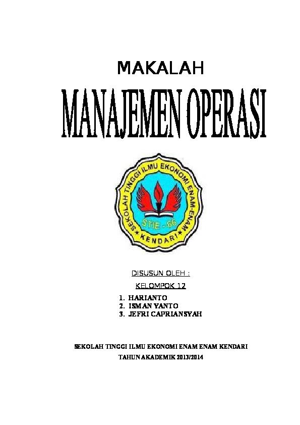 Doc Makalah Manajemen Operasi Jalan Poros Academia Edu