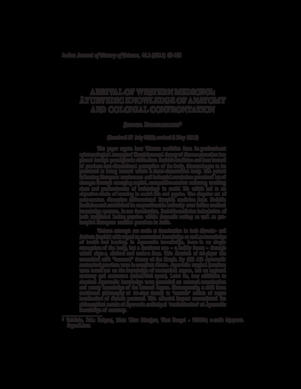 ARRIVAL OF WESTERN MEDICINE: ÂYURVEDIC KNOWLEDGE OF ANATOMY