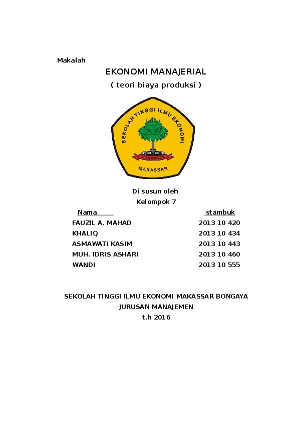 Doc Ekonomi Manajerial Teori Biaya Produksi Wandi Stiem Academia Edu