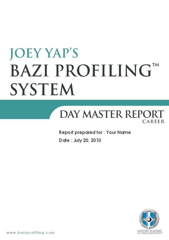 PDF) BAZI PROFILING ™ SYSTEM DAY MASTER REPORT | Jim Hong
