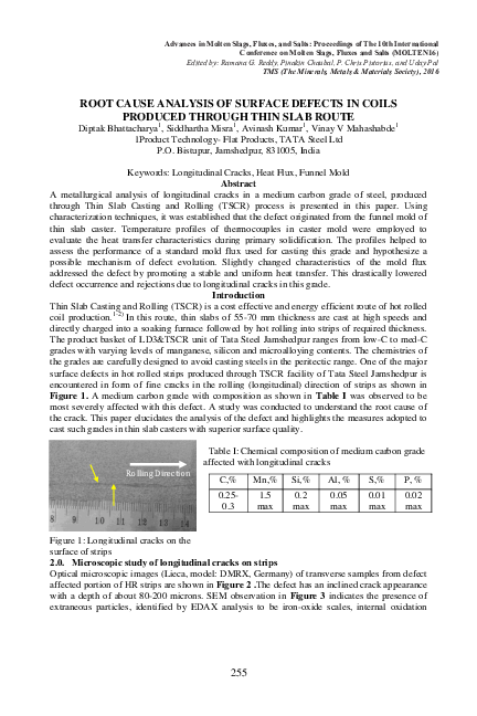 PDF) ROOT CAUSE ANALYSIS OF SURFACE DEFECTS IN COILS