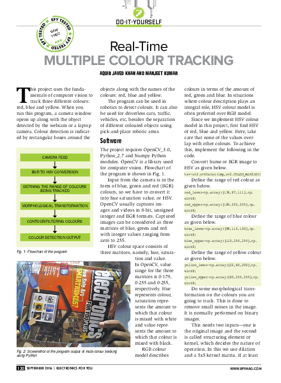 PDF) Do-it-yourself Real-Time Multiple Colour traCking