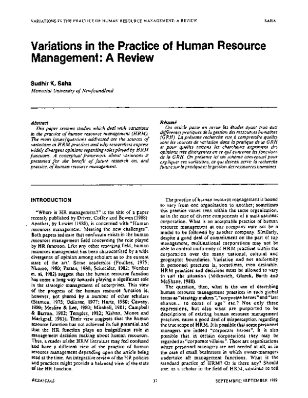 PDF) Variations in the Practice of Human Resource Management
