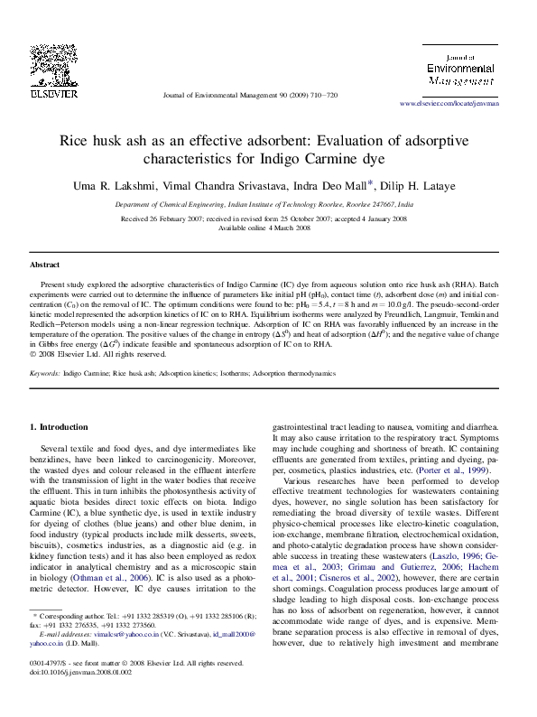 PDF) Rice husk ash as an effective adsorbent: Evaluation of