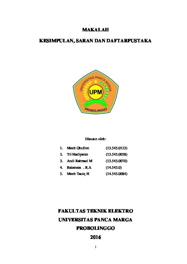 Pdf Makalah Kesimpulan Saran Dan Daftar Pustaka Moch Ghufron Academia Edu