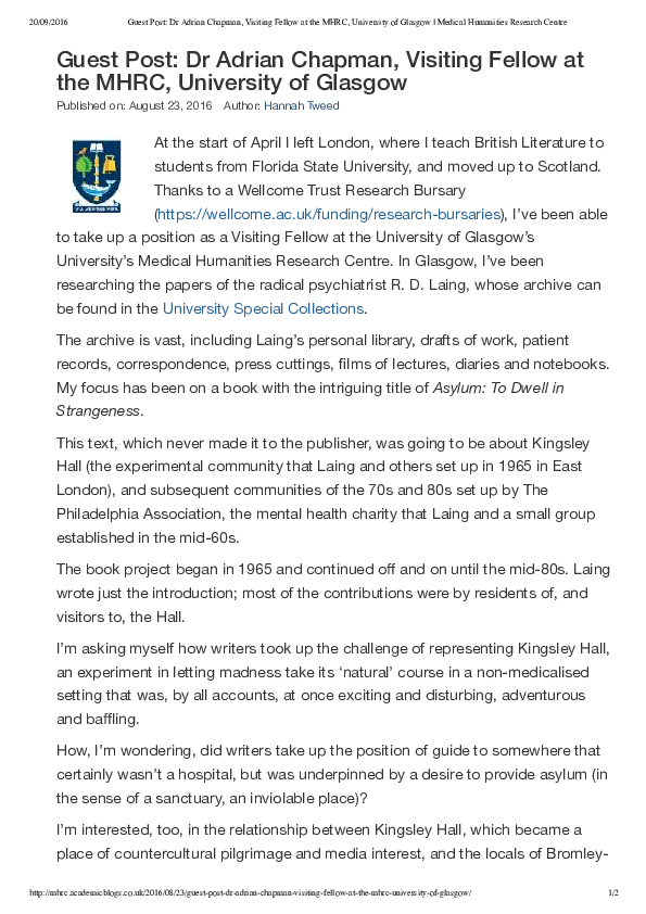PDF) Guest Post: Medical Humanities Research Centre Blog, Glasgow