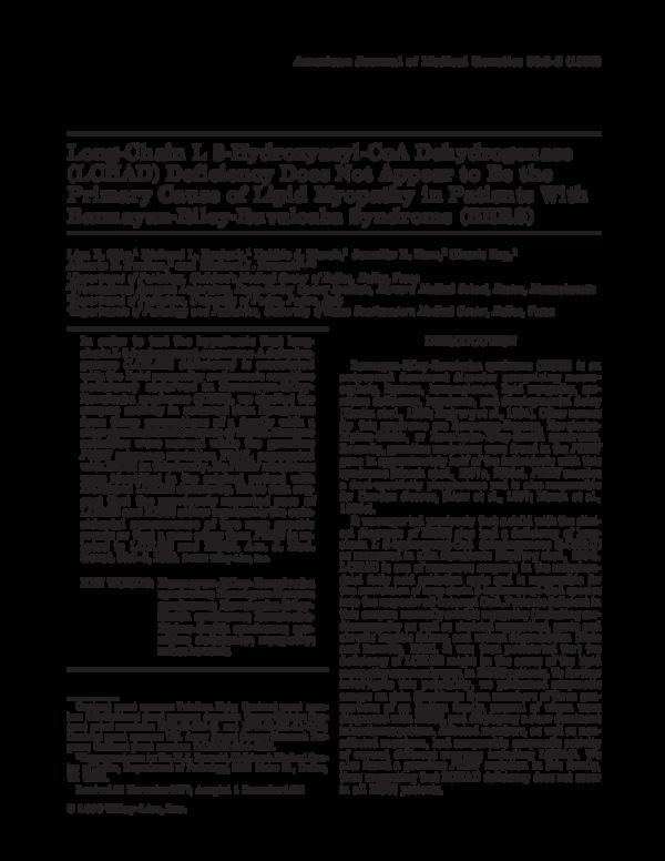 PDF) Long-chain L 3-hydroxyacyl-CoA dehydrogenase (LCHAD