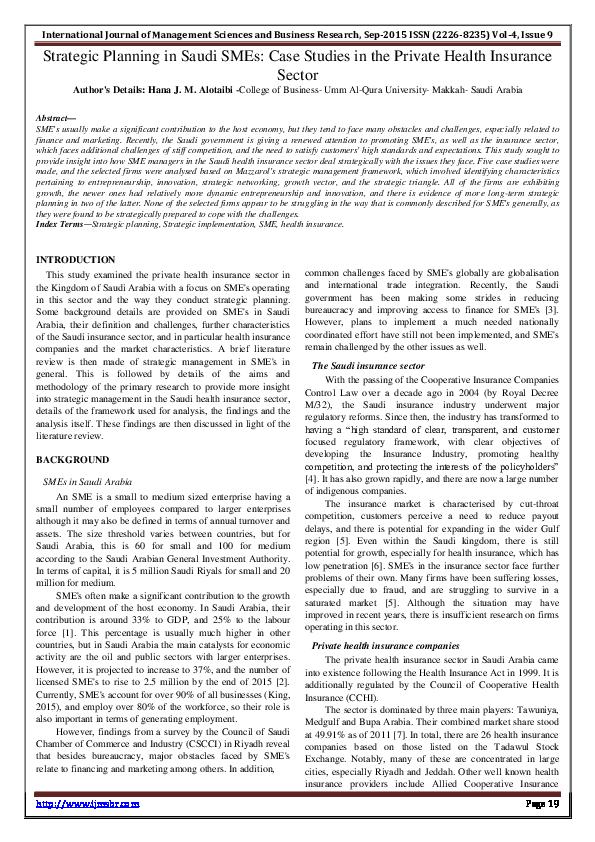 PDF) Strategic Planning in Saudi SMEs: Case Studies in the