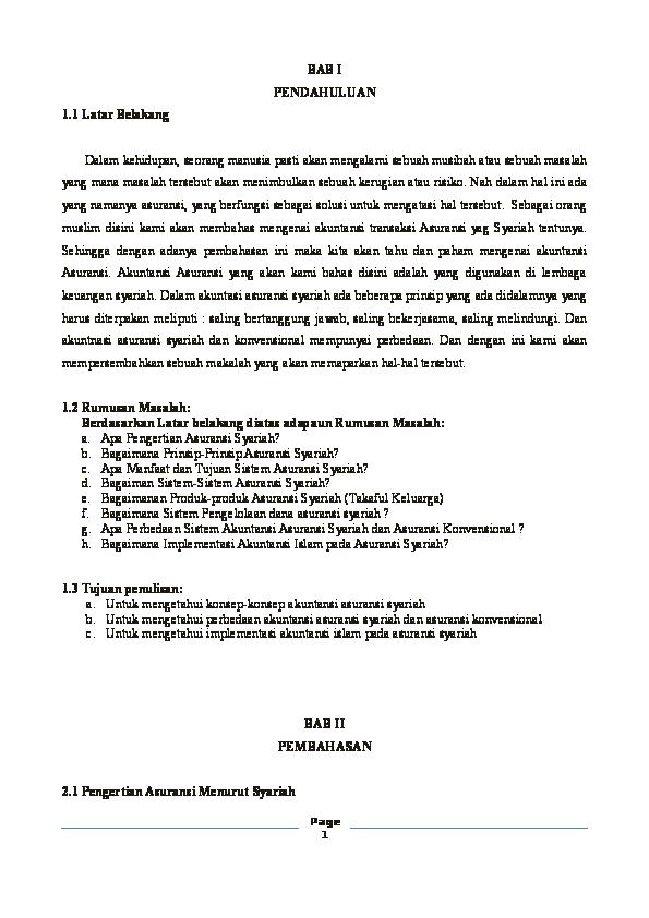 Doc Makalah Asuransi Syariah Nurul Qamar Academia Edu