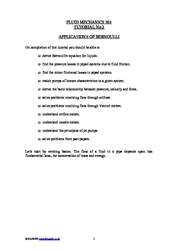 PDF) FLUID MECHANICS 203 TUTORIAL No 2 APPLICATIONS OF BERNOULLI