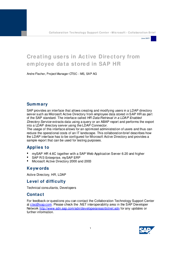 PDF) Creating users in Active Directory from employee data stored in