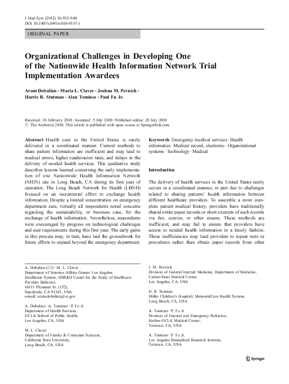 PDF) Organizational Challenges in Developing One of the