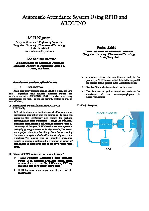 DOC) Automatic Attendance System Usingkkk RFID and ARDUINO