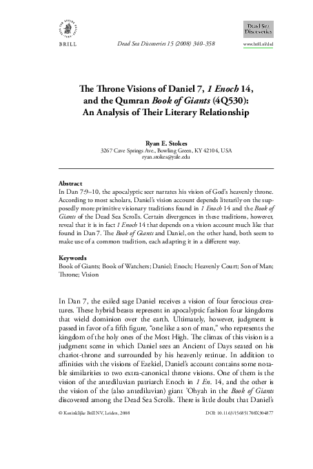 PDF) The Throne Visions of Daniel 7, 1 Enoch 14, and the