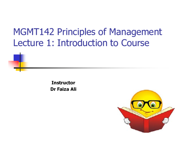 PPT) MGMT142 Principles of Management Lecture 1
