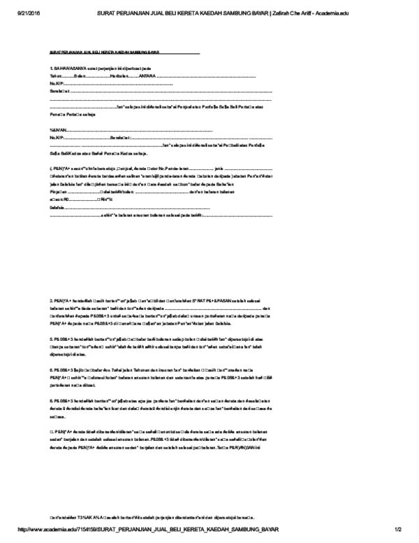 Pdf Surat Perjanjian Jual Beli Kereta Kaedah Sambung Bayar Roslina Mohd Zain Academia Edu