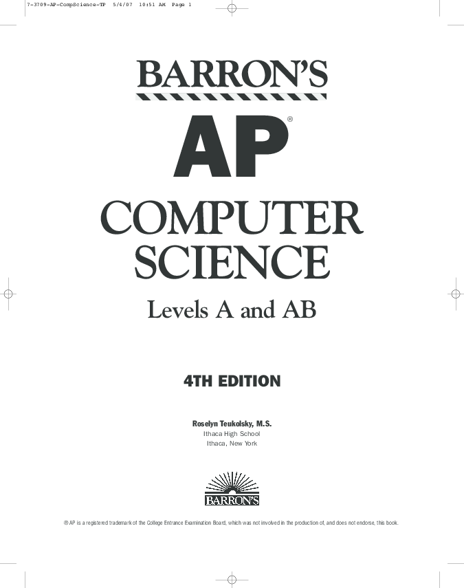 Barrons ap computer science levels a and ab pdf download