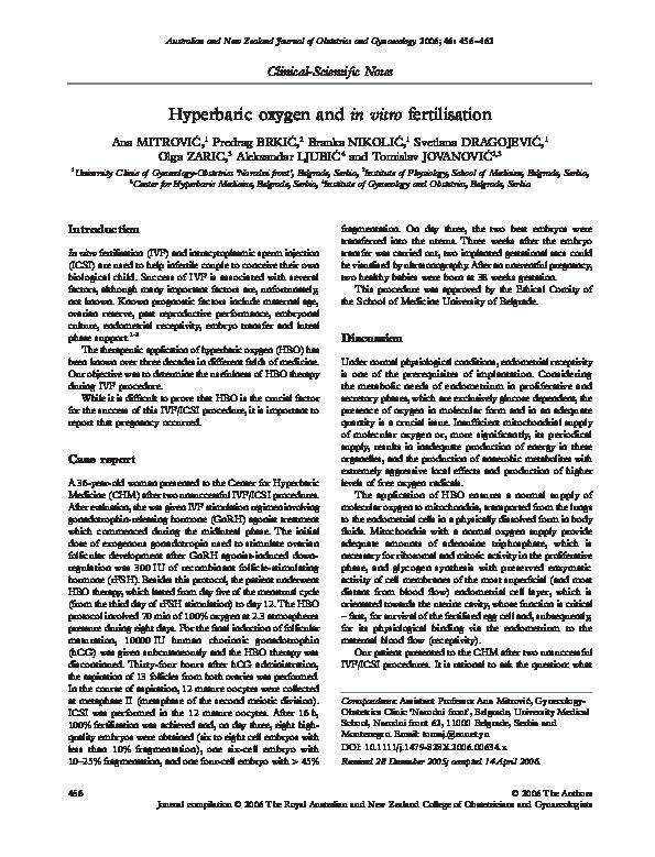 PDF) Hyperbaric oxygen and in vitro fertilisation | Aleksandar