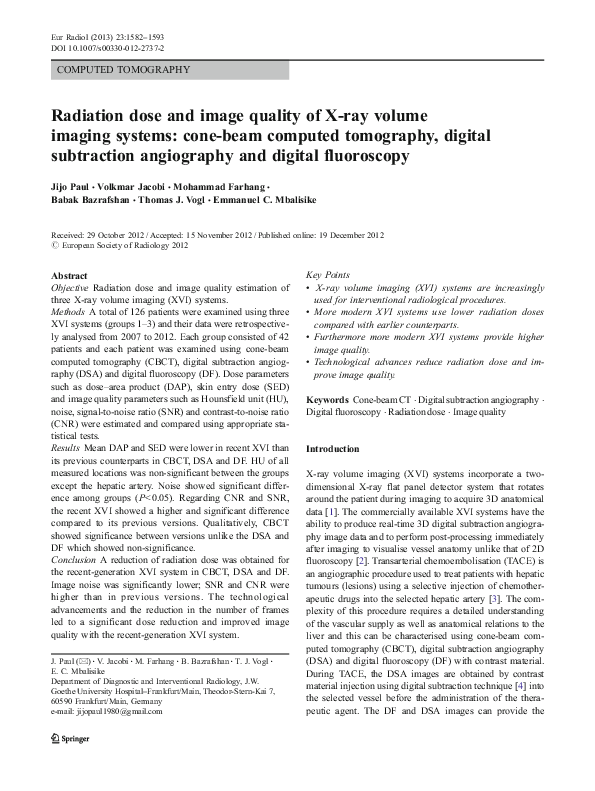 PDF) Radiation dose and image quality of X-ray volume
