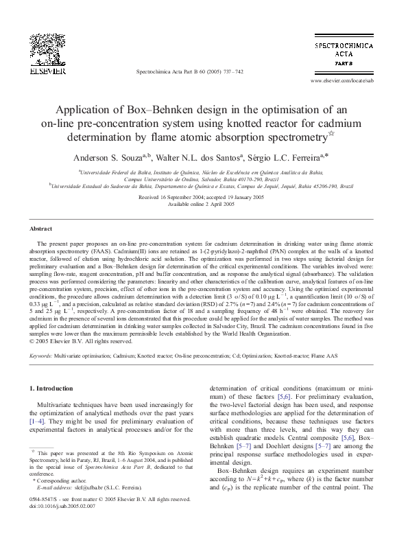 Pdf Application Of Box Behnken Design In The Optimisation Of An On Line Pre Concentration System Using Knotted Reactor For Cadmium Determination By Flame Atomic Absorption Spectrometry Anderson Souza Academia Edu