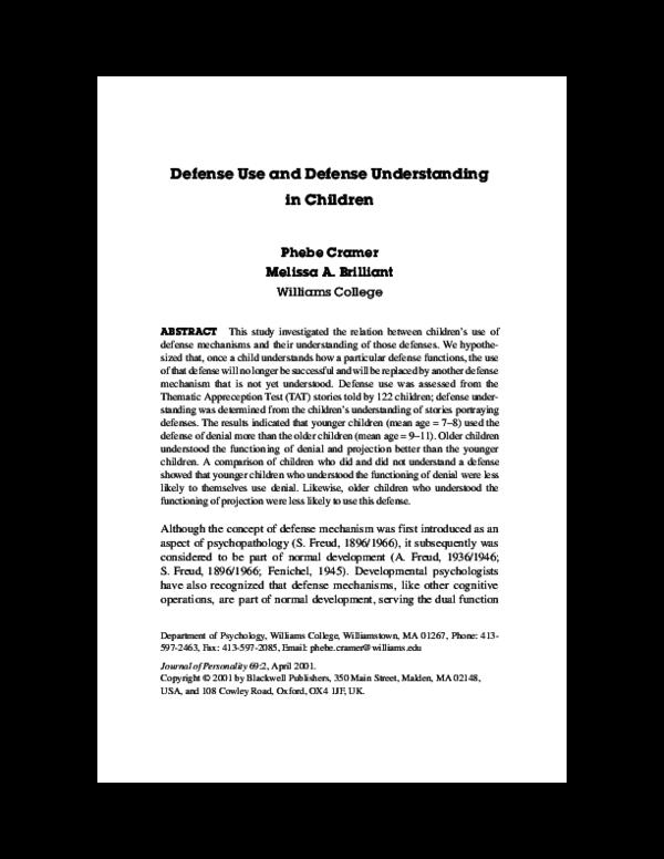 Pdf Defense Use And Defense Understanding In Children Phebe