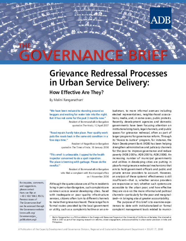 PDF) Grievance Redressal Processes in Urban Service Delivery