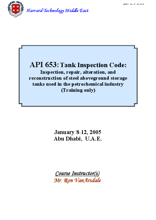 Api 653 Tank Inspection Code Inspection Repair Alteration And