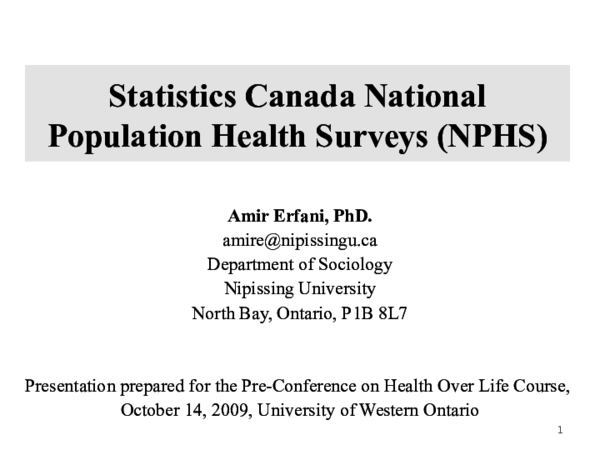 Statistics Canada National Population Health Surveys (NPHS | Amir