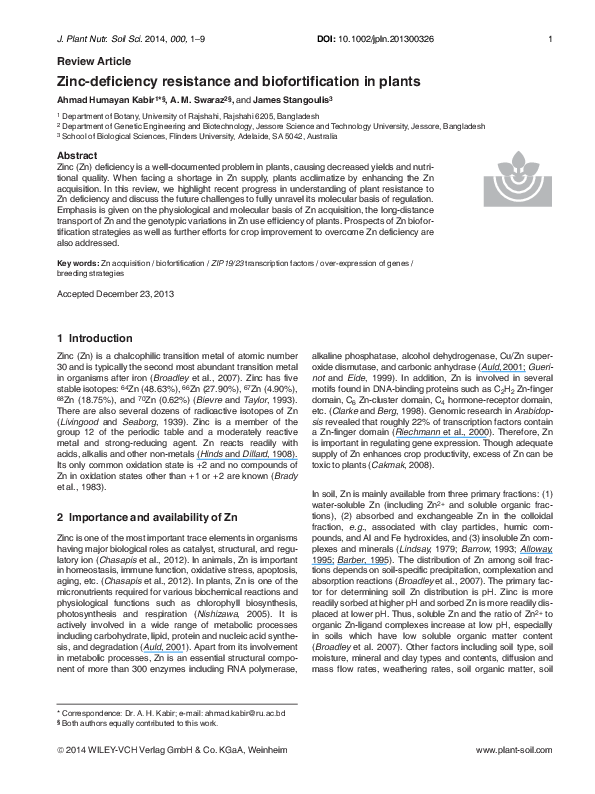 PDF) Zinc-deficiency resistance and biofortification in