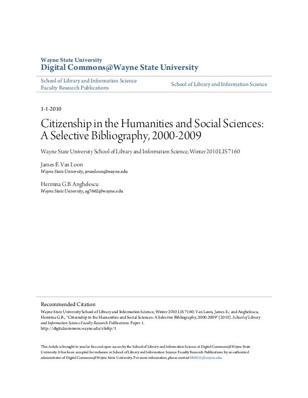 Citizenship In The Humanities And Social Sciences A Selective