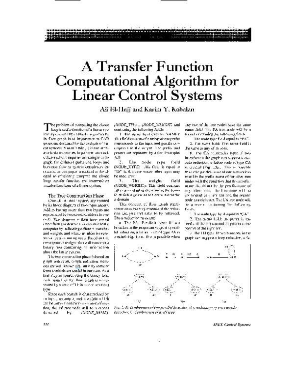 PDF) A transfer function computational algorithm for linear