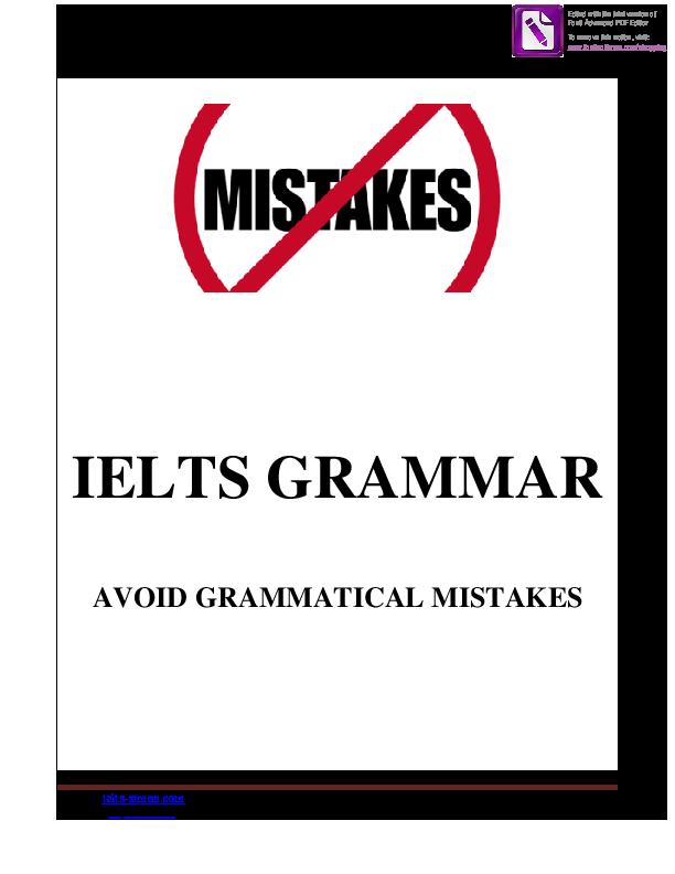 PDF) IELTS GRAMMAR AVOID GRAMMATICAL MISTAKES | Thuy Nguyen