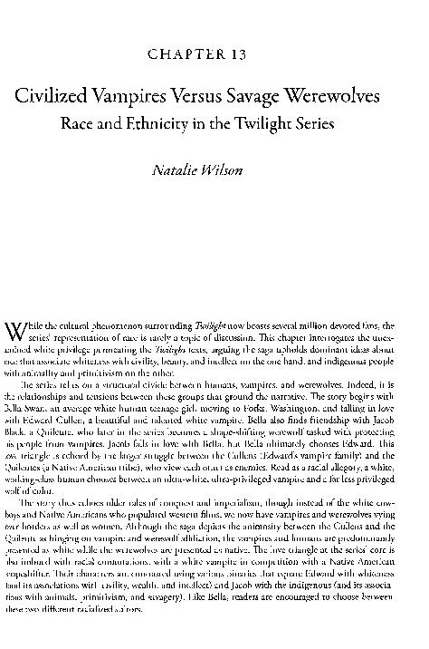 PDF) Civilized Vampires Versus Savage Werewolves Race and Ethnicity