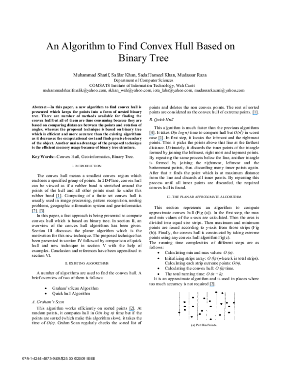 PDF) An algorithm to find convex hull based on binary tree