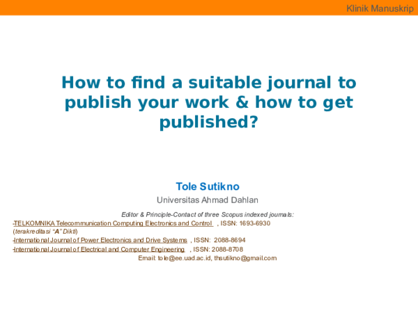 PPT) How to find a suitable journal to publish your work