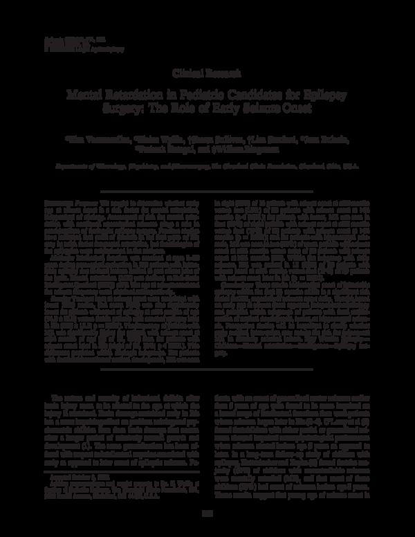 PDF) Mental Retardation in Pediatric Candidates for Epilepsy