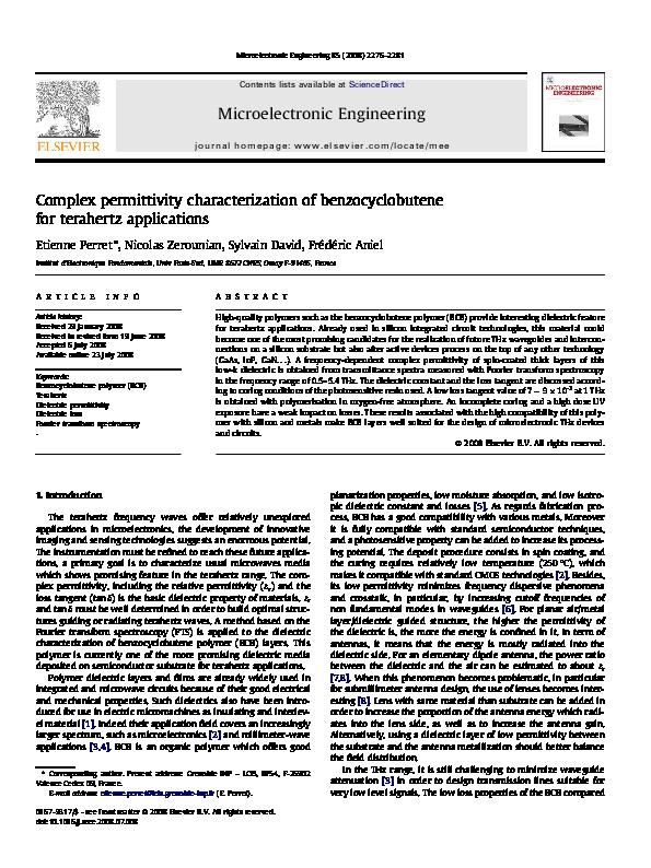 PDF) Complex permittivity characterization of