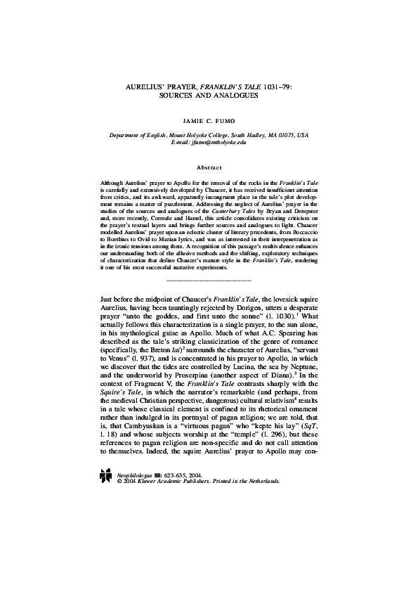 PDF) Aurelius' Prayer, Franklin's Tale 1031–79: Sources and