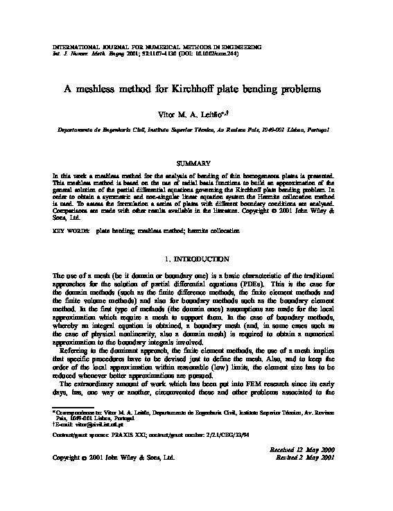 PDF) A meshless method for Kirchhoff plate bending problems