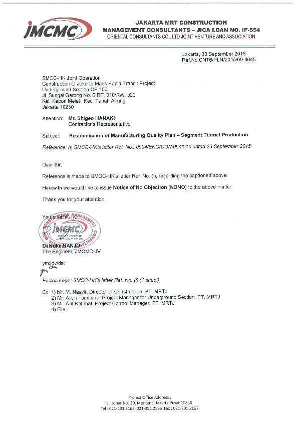 PDF) Resubmission of Manufacturing Quality Plan - Segment