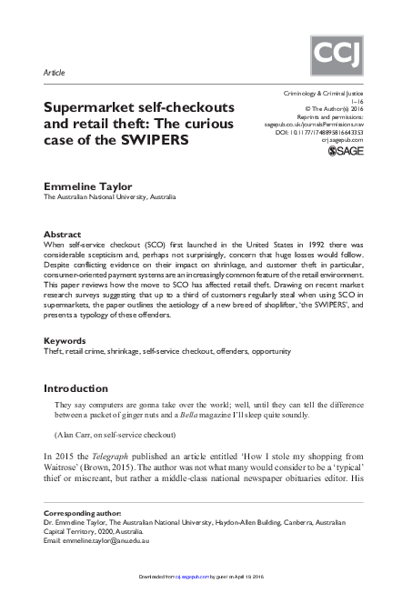 PDF) Supermarket self-checkouts and retail theft: The curious case