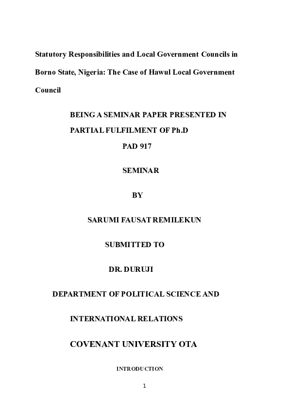 (DOC) Statutory Responsibilities and Local Government