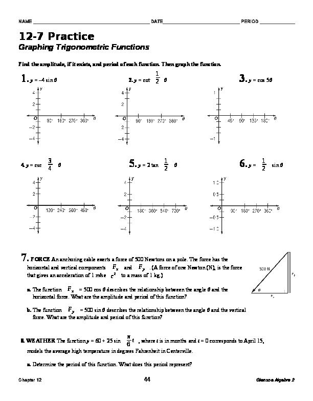 DOC) 2-7 Practice Graphing Trigonometric Functions 44Glencoe