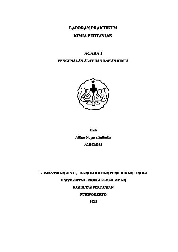 Doc Laporan Kimia Pertanian Acara 1 Pengenalat Alat Dan Bahan Kimia Docx Alfian Noparas Academia Edu