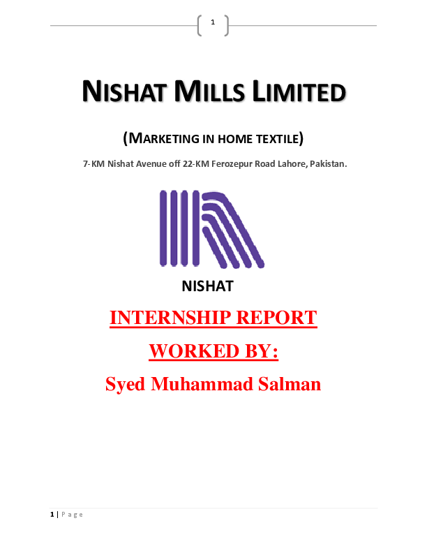 PDF) NISHAT MILLS LIMITED (MARKETING IN HOME TEXTILE