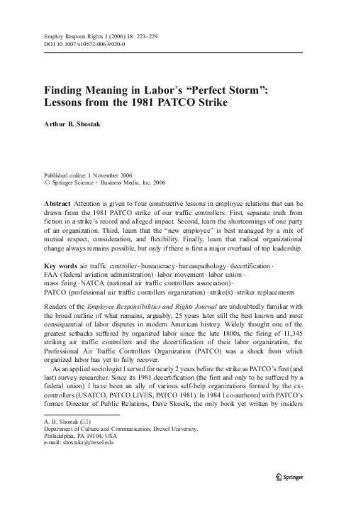 "PDF) Finding Meaning in Labor's ""Perfect Storm"": Lessons from the"